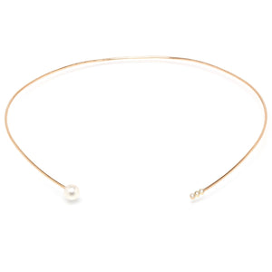 Yellow Gold Collar Necklace with Pearl and Diamonds