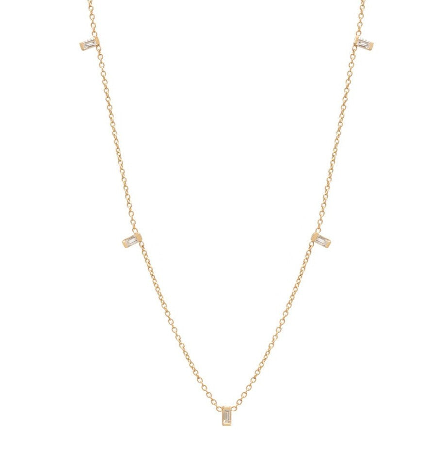 Yellow Gold Chain Necklace with 5 Baguette Diamond Dangles