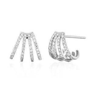 Diamond Multi Huggie Earrings - White Gold