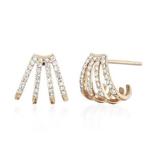 Diamond Multi Huggie Earrings - Yellow Gold