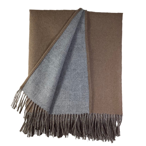 Reversible Blanket Cape in Light Grey + Camel