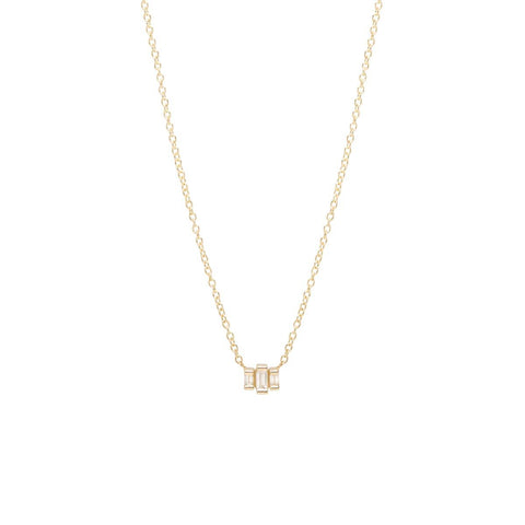 Yellow Gold Baquette Diamond Necklace