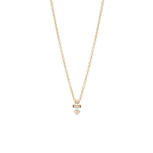 Yellow Gold Mixed Diamond Adjustable Necklace