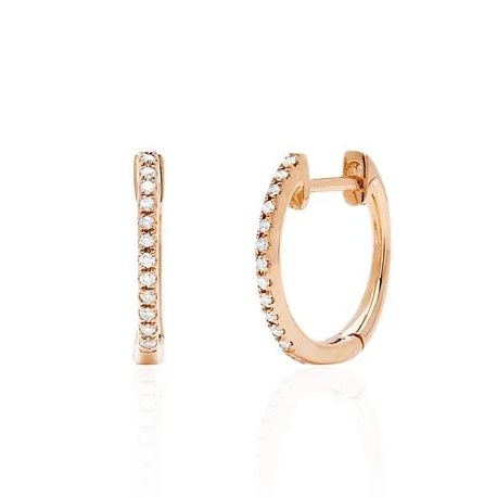 Diamond Huggie Earrings in Rose Gold