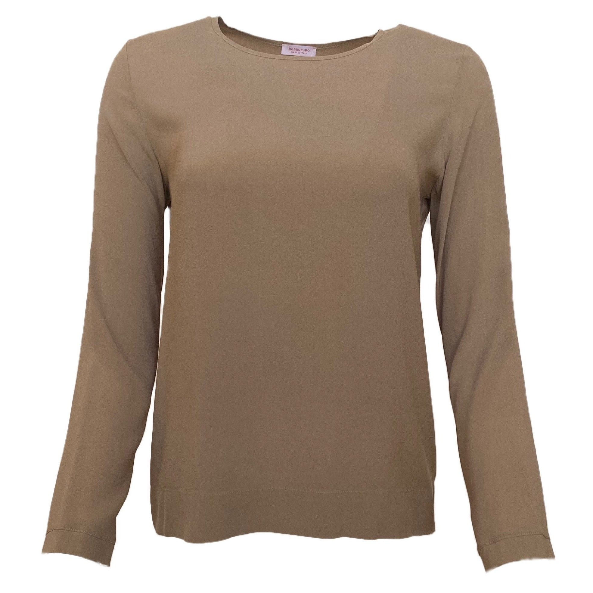 Girocollo Silk Long Sleeve Crewneck in Taupe