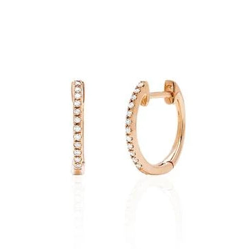 Diamond Mini Huggie Earrings - Rose Gold