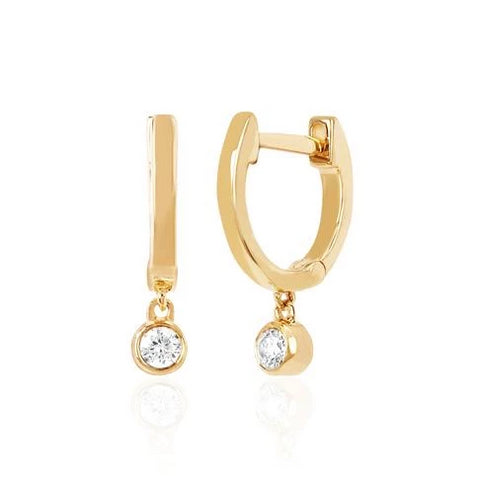 Mini Huggie Earrings with Diamond Bezel Drop in Yellow Gold