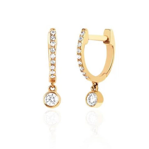 Diamond Mini Huggie Earrings with Diamond Bezel Drop in Yellow Gold