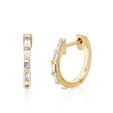Diamond Baguette Huggie Earrings - Yellow Gold