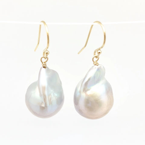 Kate Baroque Pearl Earring in Light Grey