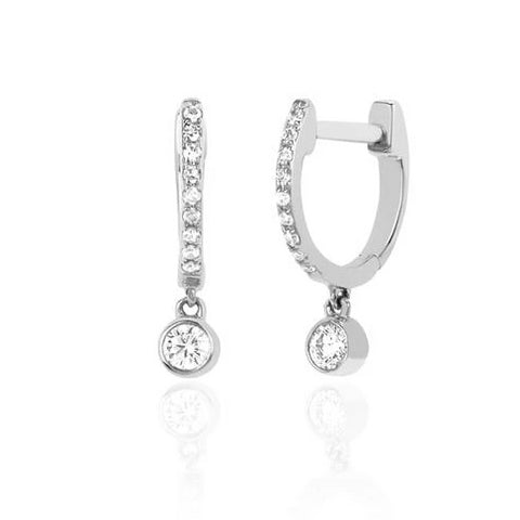 Diamond Mini Huggie Earrings w/ Diamond Bezel Drop - White Gold