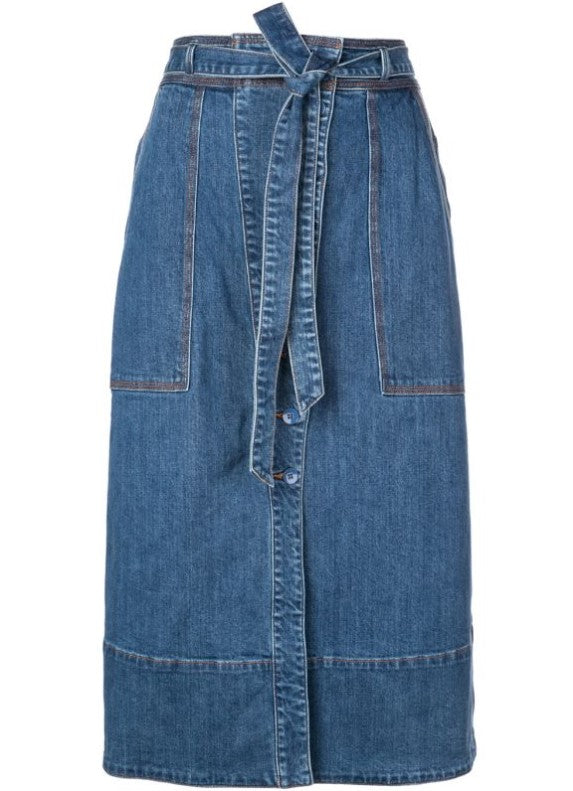 Tegan Belted Denim Skirt  FINAL SALE