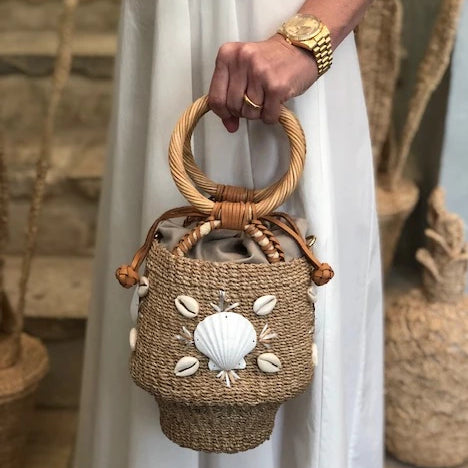 Alana Shells Woven Bucket Bag