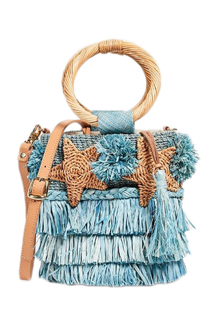 Stella Starfish + Fringe Woven Bucket Bag