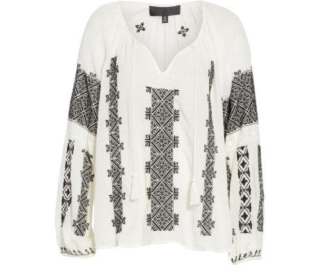 Alassio Embroidered Blouse in Ivory + Black FINAL SALE