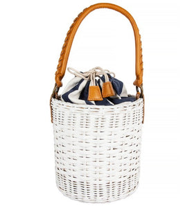 Katrina Bucket Bag with Striped Canvas Lining in White Wicker FINAL SALE