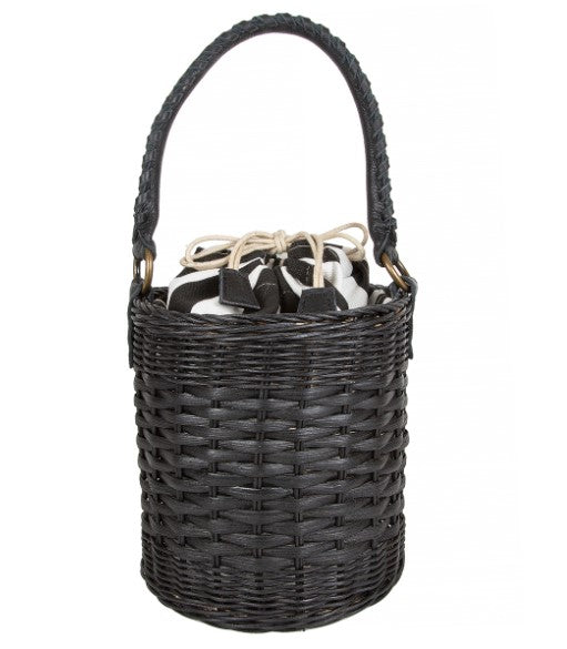 Katrina Bucket Bag with Striped Canvas Lining in Black Wicker FINAL SALE
