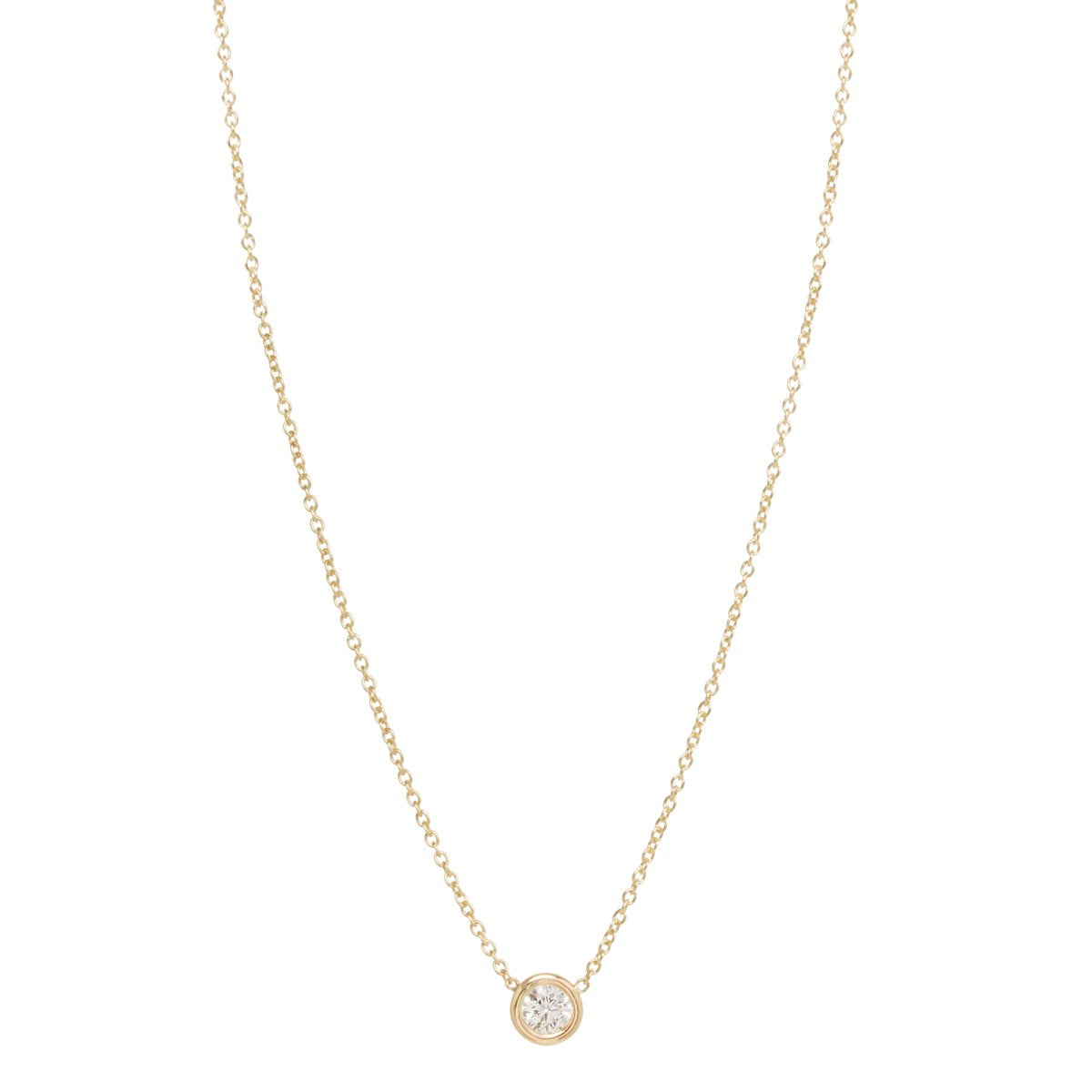 Yellow Gold Chain Necklace with Single Inset White Diamond