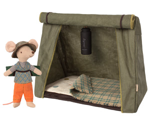 Mouse Hiker with Tent and Flashlight