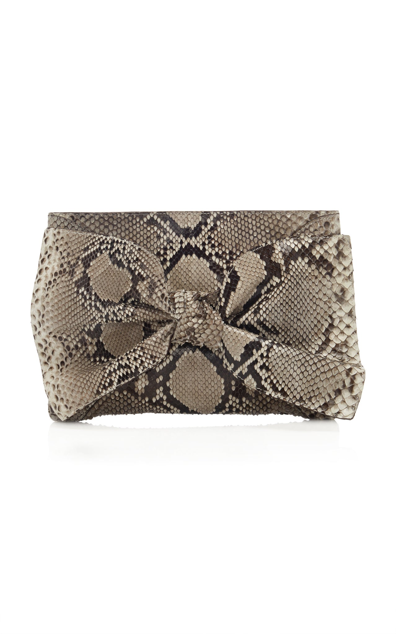 Tali Python Leather Bow Clutch