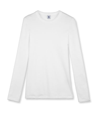 Long Sleeve Crewneck Tee in White