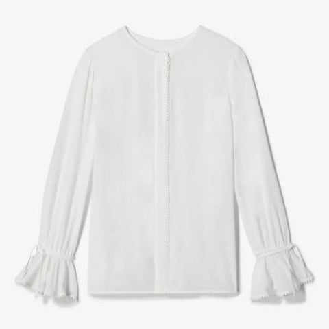 Laurel Bell Sleeve Blouse in Soft White
