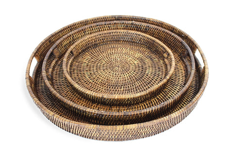 Large Round Tray in Antique Brown