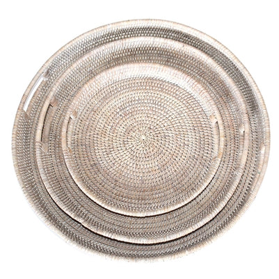 Small White Washed Round Tray