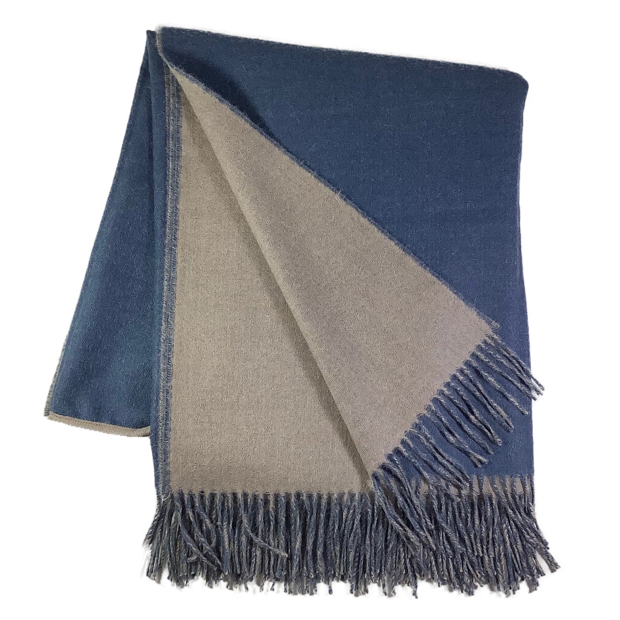 Reversible Blanket Cape in Light Taupe + English Manor