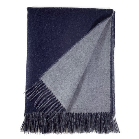 Reversible Blanket Cape in Navy + Light Grey