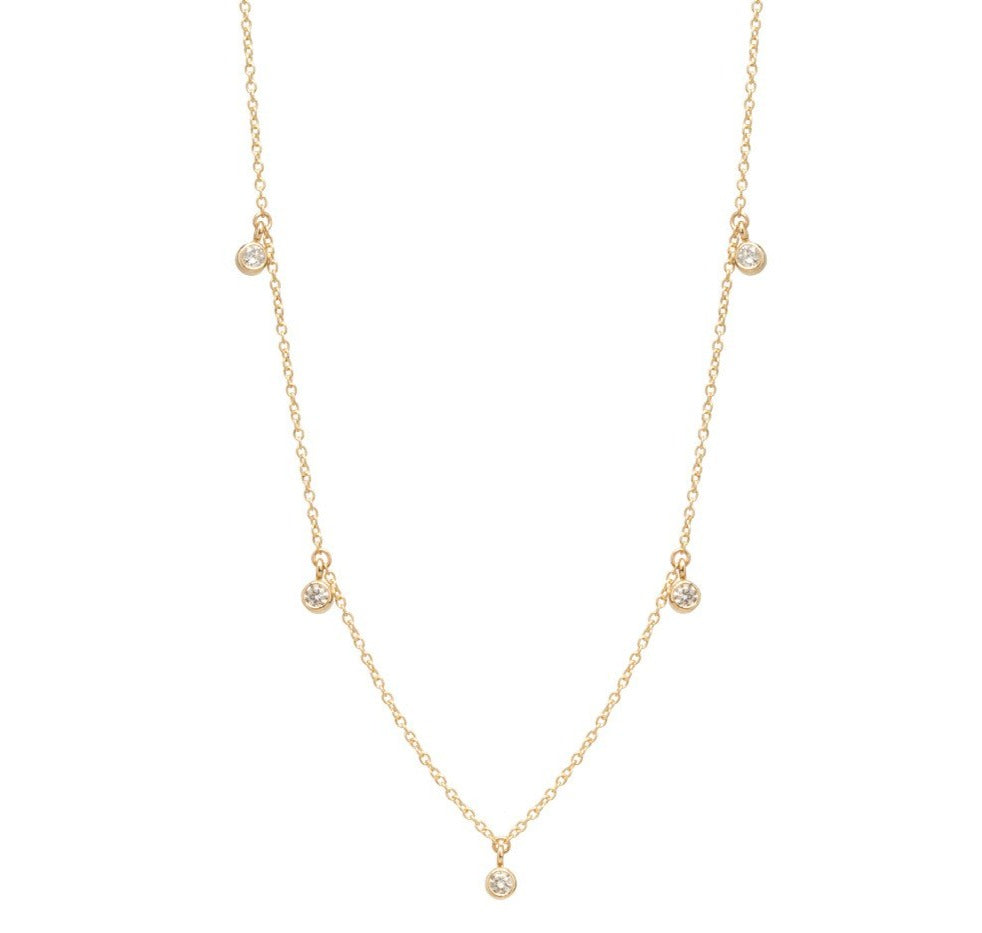 Yellow Gold Chain Necklace with 5 Round Diamond Dangles
