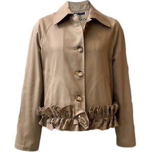 Ruffle Bottom Jacket in Khaki