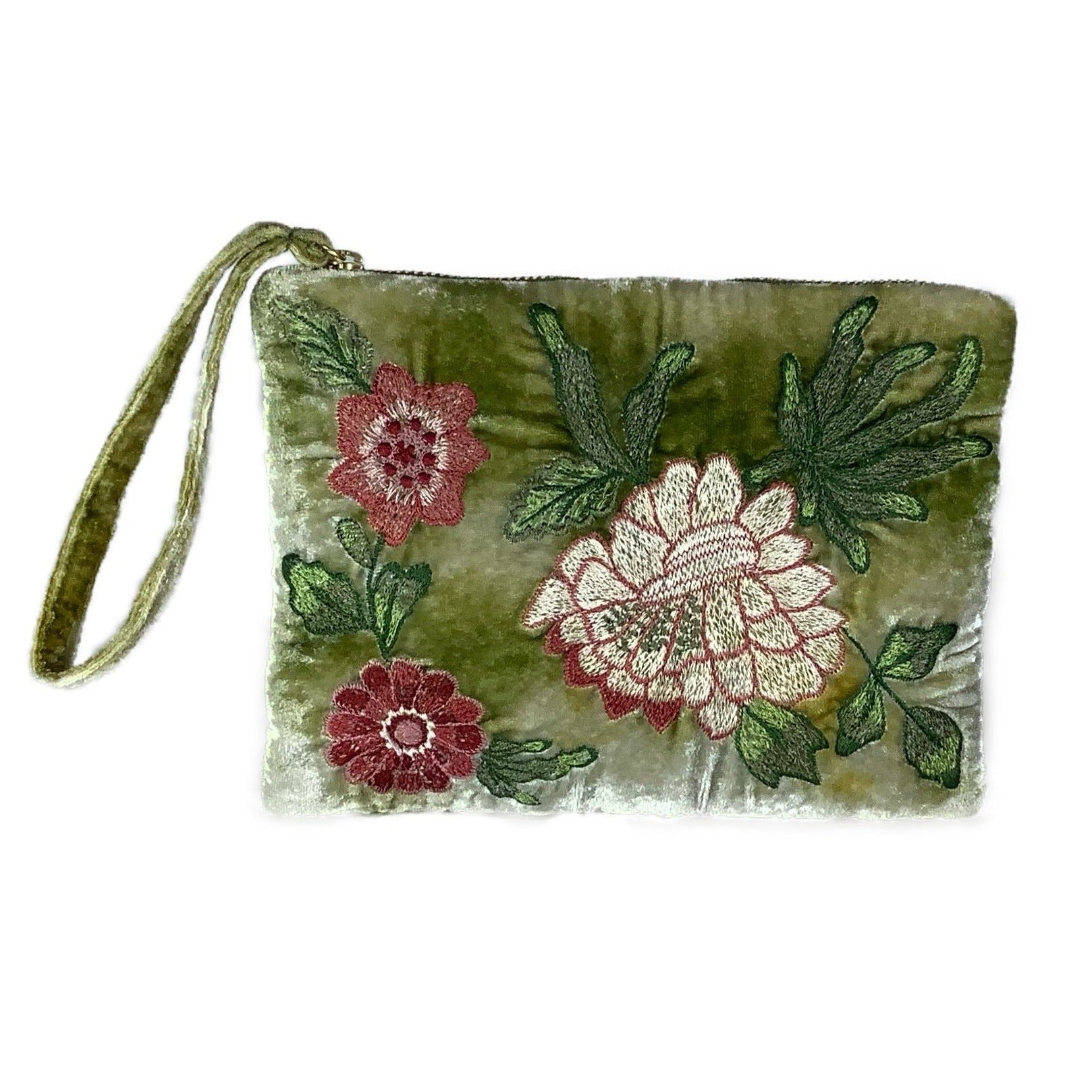 Bouquet Velvet Zip Pouch in Shaded Mint