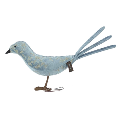 Kinnie Velvet Standing Bird in Heavenly Blue