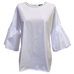 Top with Bell Sleeve + Chain Detail in White