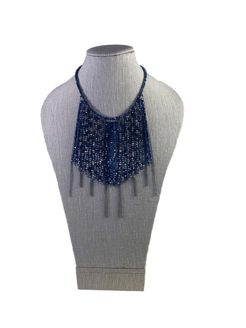Drop Bead Necklace in Grey + Blue