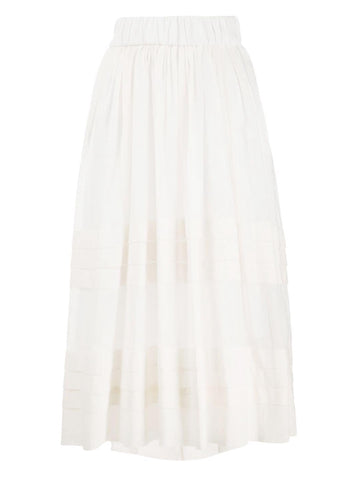 Plisse Voile Maxi Skirt in Cream