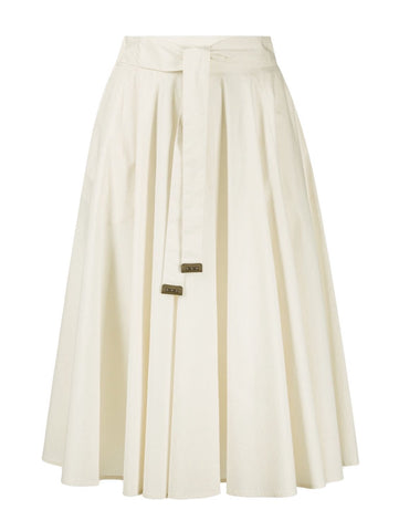 Belted Sail Cloth A-Line Skirt in Cream
