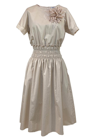Cotton Sail Cloth Short Sleeve Dress in Ecru
