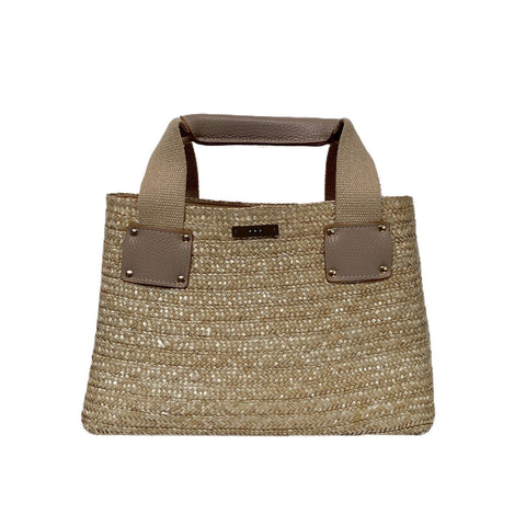 Leather Handled Straw Tote in Natural