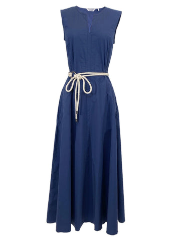 Cotton Sleeveless Midi Dress in Navy