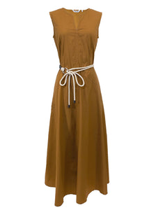 Cotton Sleeveless Midi Dress in Caramel