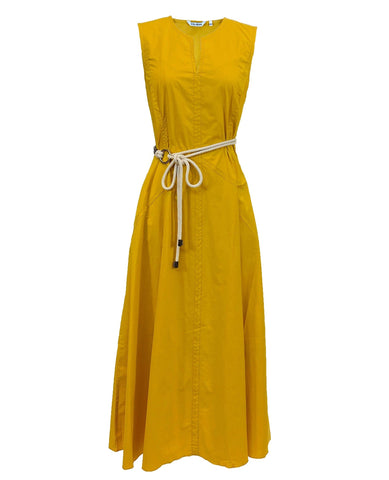 Cotton Sleeveless Midi Dress in Sunflower