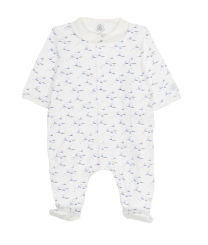 Falato Sailboat Front-Snap Printed Footie
