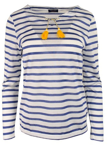 Cassis Longsleeve Striped Tee with Tassels in Neige + Voyage