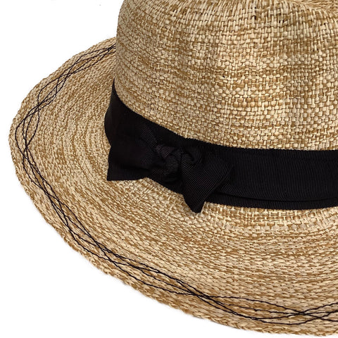 Rise n' Shine Straw Hat in Oat + Black