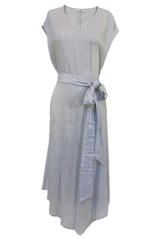 Silk V-Neck Micro Stripe Dress in Blue + Taupe