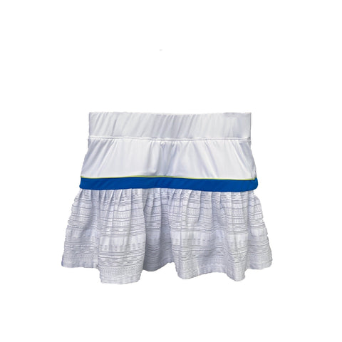 Pleated Skort with Textured Lace in White + Blue