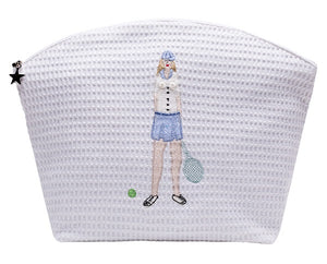 Tennis Lady White Waffle Cosmetic Bag