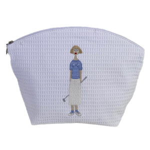 Golf Lady White Waffle Cosmetic Bag in Blue